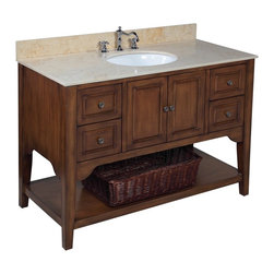 Kitchen Bath Collection - Washington 48-in Bath Vanity (Travertine/Brown) - This bathroom vanity set by Kitchen Bath Collection includes a brown cabinet with soft close drawers and self-closing door hinges, travertine countertop, single undermount ceramic sink, pop-up drain, and P-trap. Order now and we will include the pictured three-hole faucet and a matching backsplash as a free gift! All vanities come fully assembled by the manufacturer, with countertop & sink pre-installed.
