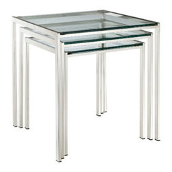 "LexMod - Nimble Nesting Table in Silver - Nimble Nesting Table in Silver - Energize your space in a quick three-stepped succession. The Nimble nesting table set is as minimalist and modern as it gets. The shimmering stainless steel frame blends well with any space, while the tempered glass top is resilient enough for many years of use. Set Includes: One - Large Nimble Stainless Steel Nesting Table One - Medium Nimble Stainless Steel Nesting Table One - Small Nimble Stainless Steel Nesting Table Modern 3 Piece Nesting Table Set, Stainless Steel Frame, Tempered Glass Top Big Table Dimensions: 20""L x 20.5""W x 21.5""H Medium Table Dimensions: 18""L x 18.5""W x 19.5""H Small Table Dimensions: 16""L x 16.5""W x 17.5""H Overall Product Dimensions: 20""L x 20.5""W x 21.5""H - Mid Century Modern Furniture."