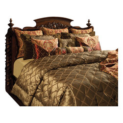 Treasure Coverlet Set, Ultra King - A regal Olive ribbon fabric complimented by a rich, Merlot Chenille brocade. Detailed with shirring and decorative trims.