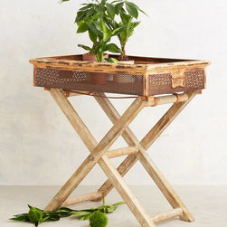 Rosaleen Garden Table - This garden-tray-style table is made of metal and wood and has so much texture. It could also double as an end table.