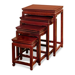China Furniture and Arts - Rosewood Ming Design Nesting Tables - Exhibiting its pleasing simple lines in a distinct Ming (1368-1644 AD) style, this exquisite set of four nested tables can be used individually or to the delight of your own artistic arrangement. All are completely handmade of solid rosewood by artisans in China using traditional joinery techniques. A hand-applied dark cherry finish enhances the beauty of the wood grain. Fully assembled.