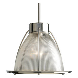 """Progress Lighting - Progress Lighting P5182-09 Glass Pendants Series 12-5/8"""" Single-Light Caged Mini - A strong and striking cage secures an elegant clear prismatic glass diffuser in this transitional one light stem hung mini-pendant from Progress Lighting. Featuring a sleek metal cap and additional matching stems, this 100 watt fixture provides clean and bright light wile offering style and versatility.Features:"""