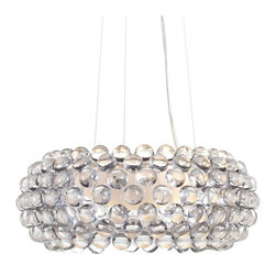 Cubic Chandelier - The Cubic Chandelier is made of crystal clear acrylic orbs supported by a polished nickel framed. A frosted glass diffuser ensures a soft glow illuminates from underneath while the acrylic orbs shine like a constellation of stars. Hang them in multiples over a long table or bar gives the plainest room a chic illuminesent vibe.