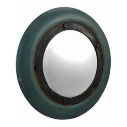 Rustic Nautical Porthole Mirror Green 20 In. - This rustic porthole mirror is a great accent that complements nautical themed decor. The outer frame is wooden and measures 20 inches in diameter, and the mirrored glass measures 12 inches in diameter. A decorative metal ring with bolts gives the mirror an antique look, along with a wonderful distressed finish. It easily mounts to the wall with a single nail or screw by the hanger on the back. This piece looks great in hallways, bedrooms, or bathrooms, and it is also a great accent in bars or restaurants.