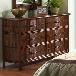 Hospitality Rattan - Hospitality Rattan Polynesian Six Drawer Dresser - Antique Multicolor - 710-5270 - Shop for Dressers from Hayneedle.com! Bring some of the islands into your bedroom by adding the Hospitality Rattan Polynesian Six Drawer Dresser - Antique. Making a wonderful addition for any bedroom the Polynesian dresser features bamboo and woven rattan wicker for a unique tropical motif. The drawers feature metal glides for easy operation. This dresser comes in a rich dark brown color. No assembly required. Dimensions: 52W x 20D x 35H inches.About Hospitality RattanHospitality Rattan has been a leading manufacturer and distributor of contract quality rattan wicker and bamboo furnishings since 2000. The company's product lines have become dominant in the Casual Rattan Wicker and Outdoor Markets because of their quality construction variety and attractive design. Designed for buyers who appreciate upscale furniture with a tropical feel Hospitality Rattan offers a range of indoor and outdoor collections featuring all-aluminum frames woven with Viro or Rehau synthetic wicker fiber that will not fade or crack when subjected to the elements. Hospitality Rattan furniture is manufactured to hospitality specifications and quality standards which exceed the standards for residential use.Hospitality Rattan's Environmental CommitmentHospitality Rattan is continually looking for ways to limit their impact on the environment and is always trying to use the most environmentally friendly manufacturing techniques and materials possible. The company manufactures the highest quality furniture following sound and responsible environmental policies with minimal impact on natural resources. Hospitality Rattan is also committed to achieving environmental best practices throughout its activity whenever this is practical and takes responsibility for the development and implementation of environmental best practices throughout all operations. Hospitality Rattan maintains a policy of con