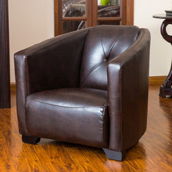 Christopher Knight Home - Christopher Knight Home Dale Brown Leather Club Chair - The Dale club chair bears resemblance to the World War II bomber seat. With its wide stance,brown leather upholstery and padded backrest,this chair exudes classic style for modern day appeal.