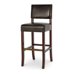 Palecek - Portland Leather Barstool, 30'' - Plantation hardwood frame and legs. Fully upholstered in leather. Antique brass footrest. Available only as shown.