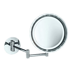 WS Bath Collections - Smile Battery-Operated Lighted Makeup Mirror, 5x - Get your makeup just right with a lighted and magnified mirror. Mount this to your bathroom wall and adjust the swivel arm to your ideal position. It will completely transform your morning routine.