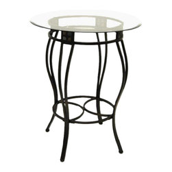 """Boraam - Boraam Beau Round Pub Table in Black/Gold - Boraam - Pub Tables - 70516 - The Beau 42"""""""" Pub Table is a wonderful choice for people looking for a counter height table where they can entertain friends and family. The pub table features black details mixed with a bronze color finish on the metal frame that is the ultimate complement to the stoned mosaic panels. The eloquent design of the table base is topped off with the beveled glass tabletop resulting in an exquisite looking counter height pub table. The leg apron provides the table with additional stability and comfortable sitting arrangements."""