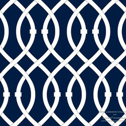 Casart coverings - Libby Langdon Collection - Lively Lattice - Mindnight Navy Lively Lattice from Libby Langdon Collection for Casart removable wallcoverings