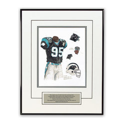 """Heritage Sports Art - Original art of the NFL 1995 Carolina Panthers uniform - This beautifully framed piece features an original piece of watercolor artwork glass-framed in a timeless thin black metal frame with a double mat. The outer dimensions of the framed piece are approximately 13.5"""" wide x 17.5"""" high, although the exact size will vary according to the size of the original piece of art. At the core of the framed piece is the actual piece of original artwork as painted by the artist on textured 100% rag, water-marked watercolor paper. In many cases the original artwork has handwritten notes in pencil from the artist. Simply put, this is beautiful, one-of-a-kind artwork. The outer mat is a clean white, textured acid-free mat with an inset decorative black v-groove, while the inner mat is a complimentary colored acid-free mat reflecting one of the team's primary colors. The image of this framed piece shows the mat color that we use (Silver). Beneath the artwork is a silver plate with black text describing the original artwork. The text for this piece will read: This original, one-of-a-kind watercolor painting of the 1995 Carolina Panthers uniform is the original artwork that was used in the creation of thousands of Carolina Panthers products that have been sold across North America. This original piece of art was painted by artist Nola McConnan for Maple Leaf Productions Ltd. The piece is framed with an extremely high quality framing glass. We have used this glass style for many years with excellent results. We package every piece very carefully in a double layer of bubble wrap and a rigid double-wall cardboard package to avoid breakage at any point during the shipping process, but if damage does occur, we will gladly repair, replace or refund. Please note that all of our products come with a 90 day 100% satisfaction guarantee. If you have any questions, at any time, about the actual artwork or about any of the artist's handwritten notes on the artwork, I would """