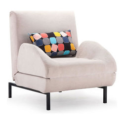 Foldable Sleeper Chair in Gray - Curl up and enjoy a good book with this comfy arm chair. Tired? Simply flip down the cushion and turn it into a sleeper chair. Chair includes back pillow pictured.