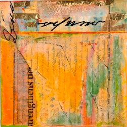 On A Wing (Original) by Diane Bowie Zaitlin - In this piece I have combined various found manuscripts, papers, gold leaf and encaustic.  It is bright, luminous and uplifting, with the suggestion of a landscape.  It is floating in a black handcrafted wooden frame.
