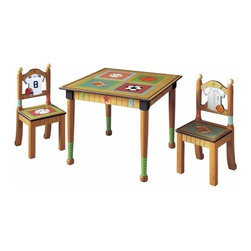 "Teamson Kids - Little Sports Fan Kids Table and Chair Set - Invite your lil' sports fan's favorite team mate over for snack time after the big game, in our decorative yet functional table and chair set. The perfect spot for homework, snack time and projects, this table and chair set is just what your children need in their bedroom or playroom. Featuring an adorable and youthful sports theme design with baseball finials on the chairs and baseball bats as the table legs. Your children will love the look and the pleasure of having their very own table and chair set. Perfectly hand carved in the finest wood, this beautiful set is designed by the Teamson company with exceptional quality and flair. * Set includes one table and two chairs * Hand carved and hand painted * Dimensions: L: 32.5"" W: 28"" H: 28"""