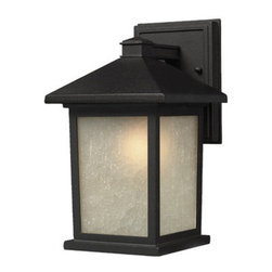 """Z-Lite - Z-Lite 507S 1 Light Down Lighting 9.75"""" Height Outdoor Wall Light with Glass Squ - Z-Lite 507S 1 Light Down Lighting 9.75"""" Height Outdoor Wall Light with Glass Square Shade from the Holbrook CollectionThe timeless, mission styling of the Holbrook family displays clean lines to suit both contemporary and traditional decors. The glass panels are available in seedy white paired with a black finished fixture and warm tinted seedy paired with an olde rubbed bronze finished fixture. Also available are glass panels in white swirl paired with black or beige swirl paired with olde rubbed bronze. Alternatively, designed tiffany panels are available in either beige swirl accented with amber or white swirl accented with black. These fixtures are comprise of cast aluminum which withstands nature's seasonal elements.Features:"""