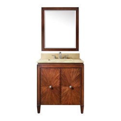 Avanity - Avanity BRENTWOOD-VS31-NW Brentwood 31 in. Single Bathroom Vanity with Optional - Shop for Bathroom from Hayneedle.com! Upgrade your bathroom style with the classically beautiful Avanity Brentwood VVS31-NW 31 in. Single Bathroom Vanity with Optional Mirror. A solid poplar wood base with high-quality veneers is finished in a rich walnut tone that shows off the natural beauty of the grain. A pair of soft-close doors with an intricate starburst pattern and square old-nickel finished hardware conceal spacious storage and an adjustable shelf perfect for all of your necessities. The classic framed details around the edges and door faces are complemented by the sleek traditional countertop and backsplash in your choice of color and solid material with a square undermount vitreous china sink. Adjustable levelers on the base ensure a solid foundation. Choose to add the matching rectangular mirror with a wood frame and beveled edge in a 24-by-32-inch high or 30-by-35-inch high size to complete the look. About Avanity CorporationAvanity's goal has always been to provide the public with the best products possible at the fairest prices. To this end their customer service style is about listening to their customer not just hearing them. Avanity is confident in all of their products and provides a one-year manufacturer's warranty to prove it. Avanity also takes note of increasing market trends to stay ahead of the game and provide the most cutting-edge products available.