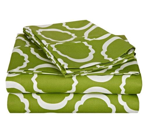 600 Thread Count Queen Sheet Set Cotton Rich Scroll Park - Green/White - 600 Queen Sheet Set Cotton Rich Scroll Park - Green / White