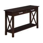 Simpli Home - Kitchener 48 inch wide Console Table in Dark Walnut Brown - Long and lean. Classic and timeless. The Kitchener Console Table is in a class of its own.  It features two large drawers providing ample storage space while the bottom shelf allows you to show off you favorite decorative items. From the living room, family room to the entryway, this console table is a great way to gain storage in almost any room in your home...you choose which one..