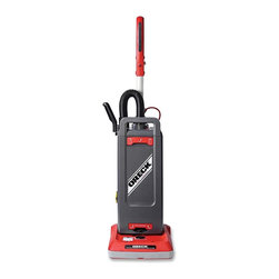 Oreck - Oreck Pro 12 Upright Bagged Vacuum Cleaner, 1.25 Gallon, Red - Pro 12 Series Upright Vacuum is ideal for use in high-traffic areas such as hotels, restaurants, and offices. 12 cleaning path is designed for deep cleaning in just one pass. Vacuum can be used on a variety of surfaces with the manual brush-roller, height-adjustment feature. 40' power cord with cord-strain relief allows 80' of cleaning area. The soft touch ergonomic handle with height adjustment allows comfortable cleaning. Single, 1,200 watt motor unit with motor in brush roller base offers a low handle weight. Belt driven brush roller spins at 4,000 RPM for optimal cleaning. Auto motor shutoff feature activates when machine is clogged. Body is made from high-impact plastic for durability. Upright vacuum includes a full set of attachments. The telescopic wand and stretch hose extends more than 9' for above the floor cleaning.