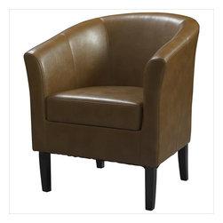 Linon - Simon Club Chair, Russett - Dimensions: 26 x 28.4 x 32.7 inches