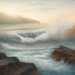 Morning Splendor - This one of a kind, original seascape oil painting was painted on a 12×16 acid-free, triple-primed cotton gallery-wrapped canvas using Holbein oil paints.  The edges of the canvas are painted, so the painting can be hung as is or it can be framed.  Would look great in the home or office!