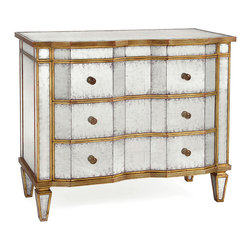 Kathy Kuo Home - Aubrey Hollywood Regency Silver Leaf Mirror Chest Dresser - Gold Trim - We love the play between warm and cool happening in the lines of this Eglomise and gold leaf dresser.  A broken front and contemporary handles on the three drawers create a Deco mood, while the gorgeously cool Eglomise mirror and warm gold leafing keep the accent French.