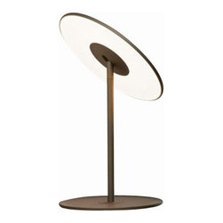 """Pablo Designs - Pablo Designs Circa LED table lamp - The Circa LED table lamp has been designed and made by Pablo. Modern and elegant, this eco-friendly design is composed of an ABS diffuser and base with an aluminum stem. The diffuser is highly adjustable 360  shade rotation. Available in white or a graphite finish. Features include 4 stage dim control, USB charging port and glare-free illumination. Illumination is provided by 11W LED flat panel 2700k. ETL LISTED         Product Details: The Circa LED table lamp has been designed and made by Pablo. Modern and elegant, this eco-friendly design is composed of an ABS diffuser and base with an aluminum stem. The diffuser is highly adjustable 360  shade rotation. Available in white or a graphite finish. Features include 4 stage dim control, USB charging port and glare-free illumination. Illumination is provided by 11W LED flat panel 2700k. ETL LISTED Details:                         Manufacturer:            Pablo                            Designer:            Pablo Design                            Made in:            USA                            Dimensions:            Height: 13.7"""" (35 cm) x Base D: 11.7"""" (30 cm) x Diffuser D:12"""" (30 cm)                            Light bulb:            11W LED flat panel 2700k                            Material:            Aluminum, Thermoplastic"""