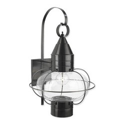 Norwell Lighting - Norwell Lighting 1509-BL-CL Black with Clear Glass Classic Onion - Traditional / Classic 1 Light Outdoor Wall Sconce from the Classic Onion CollectionThe classic onion lantern, as redefined by Norwell, is the quintessential early American lantern. NorwellÂ's Vidalia features a heavy gauge brass and a thick glass protective frame that is proudly manufactured at our U.S. facility. It is the finest Onion available.Features:Utilizes (1) Incandescent 100 Watt Edison Base BulbProduct Dimensions: 14.5 W X 24 HMaterial: BrassUL Listed : WetAbout Norwell Lighting:For over a half Century, Norwell Lighting and Accessories has been proud of its reputation for producing high quality solid brass interior and exterior lighting. They continue to build on their history by creating unique lighting designs to complement the interior of your home as well as grace your landscape and exterior architecture. With years of experience in the residential lighting industry, they offer a diversity of products ranging from historic reproductions to clean, contemporary designs to accommodate the diverse taste of the discriminating consumer.