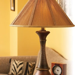 Quoizel - Quoizel QM6904M String Shade Traditional Table Lamp - This earthy lamp features a unique shade utilizing natural jute string with tan fabric backing. The base features a combination of natural materials - aged wood and metal - offering a rustic and comfortable look perfect for today's more casual homes.