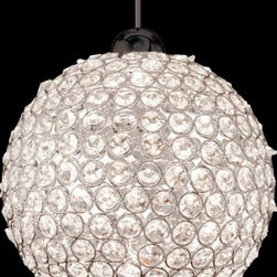 "WAC Lighting - Roxy Mini Pendant by WAC Lighting - A fixture of sparkling beauty for the contemporary space, the WAC Lighting Roxy Mini Pendant features glittering octagonal crystal beads held together in a Chrome finished metal sphere. Hang in multiples at various heights to make the most of each crystal's stunning quality. Choose from halogen or energy efficient LED lamping.WAC Lighting, founded in 1984, has developed a strong reputation for high quality decorative and task lighting. Based in Garden City, New York, WAC Lighting is a leading manufacturer of low voltage, line voltage and LED lighting, including track systems, transformers, lamps, cabinet lighting and recessed downlights.The WAC Lighting Roxy Mini Pendant is available with the following:Details:Clear crystal bead shadeMetal supportsRound ceiling canopyIncludes integral electronic low voltage transformer (1W min. load, 50W max.)72"" field-cuttable braided cable with 12"" removable hang-straight tubeLow voltageDimmable with electronic low voltage dimmer (not included)UL ListedOptions:Finish: Brushed Nickel, Chrome, or Dark Bronze.Lamping: Halogen, or LED.Lighting:Halogen option utilizes one 50 Watt 12 Volt Bi-Pin Low voltage Halogen lamp (included).LED option utilizes one 3.4 Watt 12 Volt Low voltage LED lamp (included).Shipping:This item usually ships within five business days."