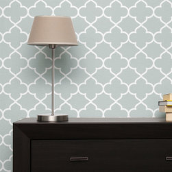 """Stencil Ease - Asilah Wall Painting Stencil - Actual Size 16.35 wide x 16.2"""" high on a 19.5"""" x 19.5"""" plastic stencil sheet - production sizes also available. The Asilah stencil is a stylized Moroccan design. You can add this all-over pattern to any room, design project or diy project. Try stenciling on Furniture, lamp shades, fabric, walls, floors."""