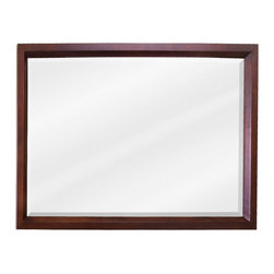 "Hardware Resources - Lyn Design Bathroom Mirror - Large Mahogany Modern Mirror by Lyn Design 42"" x 28"" mahogany rectangle mirror with beveled glass. Corresponds with VAN067, VAN067-48, VAN067-T, and VAN067-48-T"