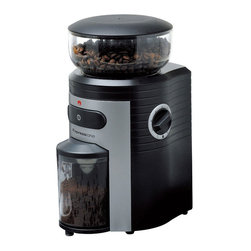 Frontgate - Espressione Conical Burr Coffee Grinder - Powerful 150W conical grinding motor completes the job fast and reliably. Fifteen grind settings provides levels from highly coarse to espresso to Turkish fine. Commercial grade conical burrs ensure maximum coffee flavor. Transparent bean container with large 82 oz. capacity for whole bean coffee. Anti-static transparent container holds 4 ounces of ground coffee. Whether you're brewing coffee or preparing delicious espresso, the Espressione Professional Conical Burr Grinder is the perfect choice for preparing true cafe-quality beverages at home or at the office. The advanced conical burr design reduces the amount of friction and heat to preserve the flavor and aroma of your premium coffee.  .  .  .  .  . Built-in timer with quantity measure can make from 2 to 10 cups in a matter of seconds and will stop automatically when ready . Sturdy construction with slip resistant bottom and power cord wind feature . Stylish design with removable components results in ease of cleaning and maintenance . 120V .