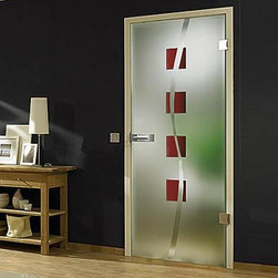 "Full Glass Doors - ""Nivada"" - ""Nivada"" combines repeating pattern with a hint of movement.   Use with hinges or make them into a sliding door with Bartels Modern Barn Door Hardware."