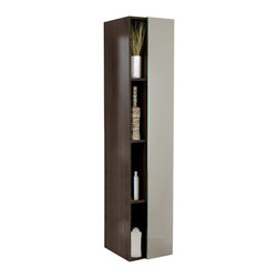 Fresca - Fresca Gray Oak Bathroom Linen Side Cabinet w/ 4 Cubby Holes & Mirror - This side cabinet comes with a Gray Oak finish.  It features 4 narrow cubby holes and a mirror on its soft closing cabinet door.