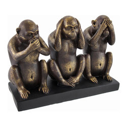 Speak, Hear, See No Evil Orangutan Figurine - This cast resin figurine features 3 orangutans in the classic 'see no evil, hear no evil, speak no evil' poses. The figurine has a lovely bronzed finish that gives it the look of metal. It measures 5 3/4 inches high, 7 3/4 inches wide and 3 1/4 inches deep. It makes a great gift for a friend, and looks wonderful in homes or offices.