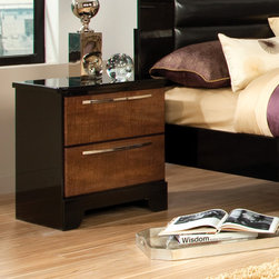 Standard Furniture - Eclipse 2 Drawer Nightstand - Features: -Decorative crossfire grain pattern paired with sleek glossy black for a modern retro flavor.-Clean drawer fronts.-Square case profiles and simple base cut-outs to emphasize its sophisticated contemporary features.-Made in the USA.-Open panel construction, quality engineered wood products, and simulated wood grain laminates with a high sheen finish.-Vibrant medium cherry color.-Eclipse collection.-Distressed: No.-Collection: Eclipse.-Country of Manufacture: United States.Dimensions: -Overall Product Weight: 32 lbs.