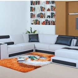 TOSH Furniture - European Bonded Leather Sectional Sofa - TOS-VT-S1332-BN-HX52-H - Bonded leather in combination with the best leather match