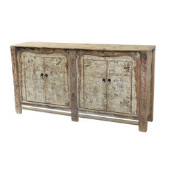 Consigned - Large Media Console/Sideboard Cabinet With Original Paint - Amazing antique large cabinet with original paint. This piece will be great as sideboard/buffet or media/entertainment cabinet. Solid elm wood, hand carved, new brass hardware.