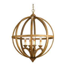 Kathy Kuo Home - Drexel Orb Curved Wood Round Pendant Chandelier Lamp - This large scale piece owes its commanding presence to its size and strong form.  A steel frame construction provides a framework for curved wooden slats.   The rustic sophistication of this chandelier is enhanced with a Chestnut stain on the wood that is then slightly washed, giving it an aged, used appearance