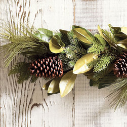 Ballard Designs - Pine & Magnolia Garland - Extra full for a lush look. Coordinates with our Pine & Magnolia Wreath. The blending of hand crafted magnolia, pine boughs and real pinecones give our everlasting Pine and Magnolia Garland a natural, unstructured look. Add your own berries for pops of holiday red color or try our Ilex Holiday Branches. Pine & Magnolia Garland features: . Coordinates with our Pine & Magnolia Wreath.