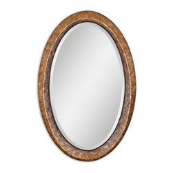 "Uttermost - Uttermost 07602  Capiz Oval Vanity Mirror - Heavily antiqued dark capiz shell with metal rope details. mirror has a generous 1 1/4"" bevel."