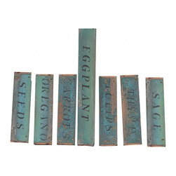 "Wooden Garden Signs - Seven lovely antique wooden garden signs in a beautiful teal color with great patina. They would be great hung on a wall or hung in your outdoor garden. Dimensions on the eggplant sign are 16 1/2"" W, x 2 1/2"" H. The other six are 9 1/2"" W, x 2 1/2"" W."