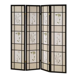 ORE International - 4 Panel Folding Shoji Pinewood Screen w Flora - Floral print. Rice paper panels. Made from solid Pinewood. 60 in. L x 10 in. W x 70 in. H (17 lbs.)Floral patterned inserts add an element of graceful elegance to this vibrant folding Shoji screen. Perfect for adding architectural interest and it is ideal for large loft spaces or anywhere you want to create privacy or a separate grouping.