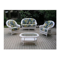 Spice Island Wicker - 4 Pc All Weather Seating & Table Set (Hokena Oasis - All Weather) - Fabric: Hokena Oasis (All Weather)Available in either honey or white finish and a wide variety of fabric choices, this outdoor seating set is a great way to personalize any deck or patio.  This set is a great way to make any outdoor space into an entertainment area.  Set it up for cozy conversations and great relaxation opportunities.  You can enjoy this five-piece furniture set outdoors, but it is equally attractive inside.  Includes sofa, chair, and ottoman plus coffee and end tables in classic detailing. * Includes Loveseat, 2 Lounge Chairs and Coffee Table. White Finish. Includes cushions. All Weather Wicker - Woven Vinyl over Aluminum frame. Loveseat: 54 in. W x 36 in. D x 38 in. H (80 lbs.). Lounge Chair: 77.5 in. W x 35 in. D x 38.5 in. H (50 lbs.). Coffee Table: 39.5 in. W x 25 in. D x 18 in. H (20 lbs.)