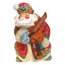 """Musician Violin Santa Claus Artistic Wood Carved Sculpture - Measures 7""""H x 4.5""""L x 4""""W and weighs 1 lb. G. DeBrekht fine art traditional, vintage style sculpted figures are delightful and imaginative. Each figurine is artistically hand-painted with detailed scenes including classic Christmas art, winter wonderlands and the true meaning of Christmas, nativity art. In the spirit of giving G.DeBrekht holiday decor makes beautiful collectible Christmas and holiday gifts to share with loved ones. Every G. DeBrekht holiday decoration is an original work of art sure to be cherished as a family tradition and treasured by future generations. Some items may have slight variations of the decoration on the decor due to the hand painted nature of the product. Decorating your home for Christmas is a special time for families. With G. DeBrekht holiday home decor and decorations you can choose your style and create a true holiday gallery of art for your family to enjoy."""