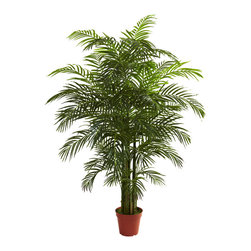 Nearly Natural - 6.5' Areca Palm UV Resistant (Indoor/Outdoor) - Long a favorite of beach lovers everywhere, the Areca palm tree signifies the tropics like no other tree. And this stately Areca palm fits the bill, with its 6.5 foot height, 8 trunks, and whopping 1400+ leaves. It's big, bold, and beautiful, and best of all, it's UV resistant, meaning it'll looking great both indoors and out without water or care. Perfect for both home and office, it also makes a fine gift.