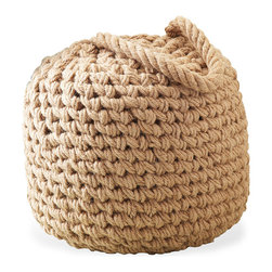 Kathy Kuo Home - Clippers Bay Coastal Beach Raw Jute Large Buoy Ottoman - Keep your feet afloat on a buoy ottoman crafted of nautical rope.  Coiled piles of braided natural jute create a comfy seat, a table-in-a-pinch or a rest for your weary soles.  If more table space is needed during your beach cottage cocktail party, simply grab the ottoman's handle and move it to wherever it's needed.