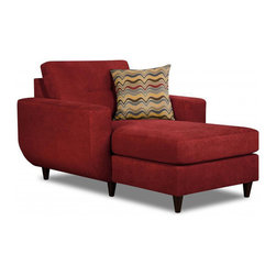 Simmons - Made to Order Simmons Upholstery Killington Red Chaise - The Killington chaise is a contemporary style piece covered in an ultra soft performance fabric. Tufted back cushion,wood peg legs,and a toss pillow accent this beautiful red furniture.