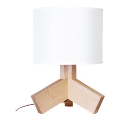 ParrotUncle - Modern Table Lamp with Tripod Wooden Fanshaped Stand - You don't need to be skinny to be beautiful.This little light of ours is, unapologetically, a bit chunky and we think it's pretty hot.